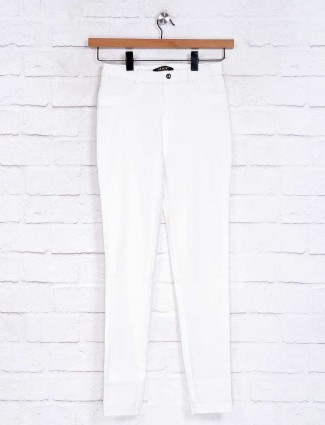 White solid girls jeggings in cotton