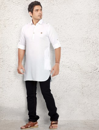 White solid linen pathani suit