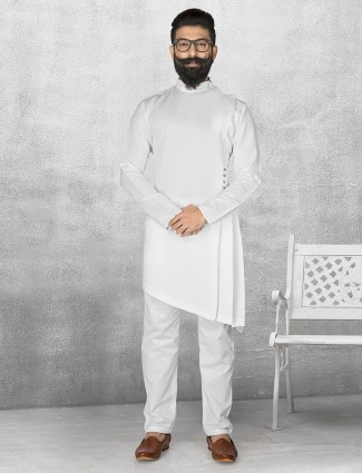 White solid terry rayon kurta suit