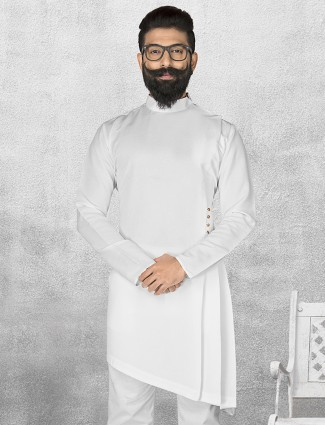 White solid terry rayon short pathani