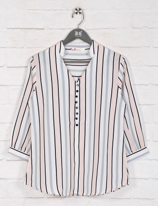 White stripe chinese neck top