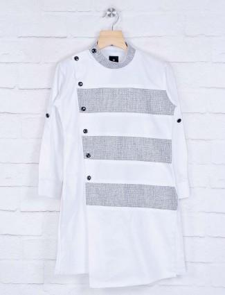 White stripe design cotton kurta suit