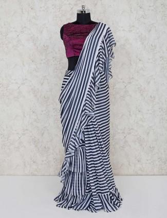 White stripe design georgette ready to wear saree