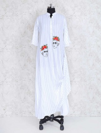 White stripe pattern casual wear kurti