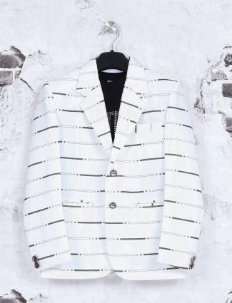 White stripe terry rayon blazer