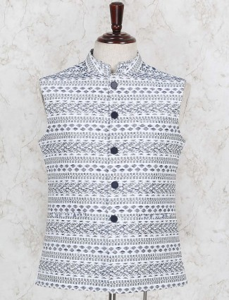 White terry rayon fabric waistcoat for party