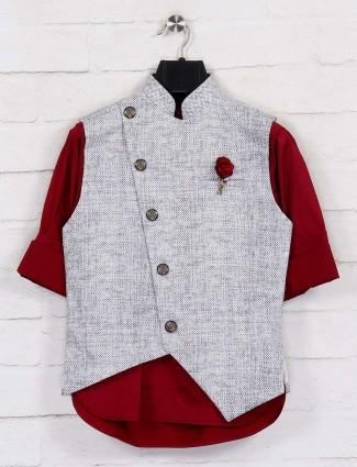 White terry rayon festtive wear waistcoat set