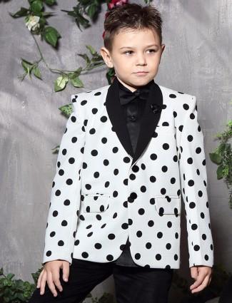 White terry rayon printed wedding wear boys blazer