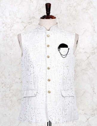 White thread woven cotton waistcoat for mens