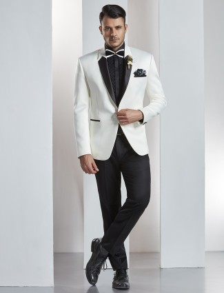 White two piece solid coat suit
