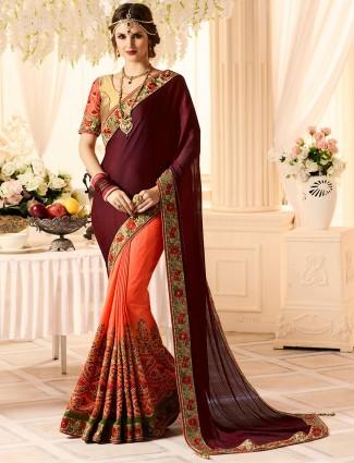 Wine and peach chiffon fabric saree