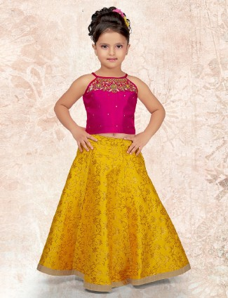 Wine and yellow color silk choli suit