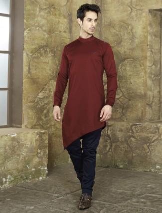 Wine color festive kurta suit