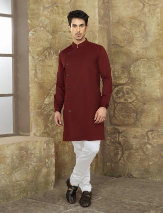 Wine color party wear kurta suit