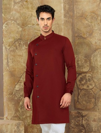Wine color party wear short pathani