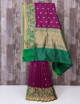 Wine color silk fabric saree for reception