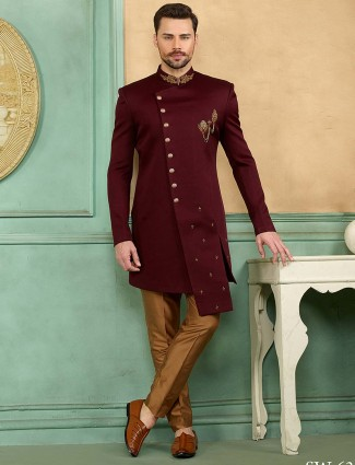 Wine color wedding function solid indo western