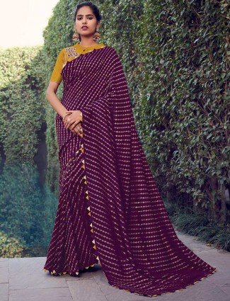 Wine cotton silk saree for an party