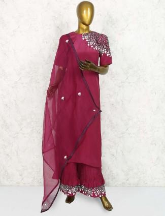 Wine hue cotton silk punjabi sharara suit