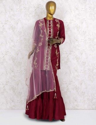 Wine hue designer cotton silk punjabi sharara suit