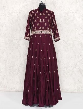 Wine hue raw silk floor length anarkali suit