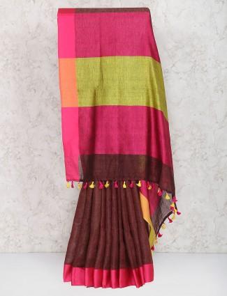 Wine hue saree in linen