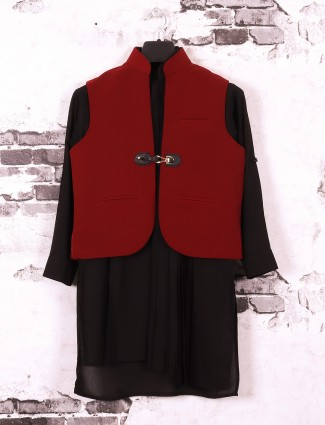Wine maroon and black color waistcoat set for party