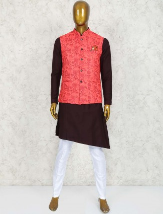 Wine maroon and red colored waistcoat set