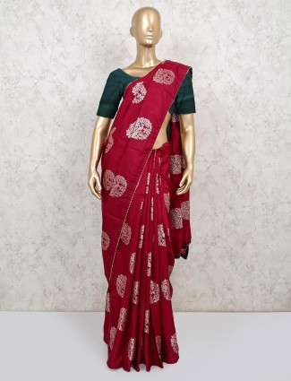 Wine maroon colour dola silk saree for wedding