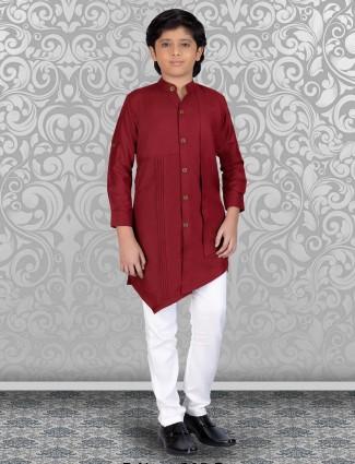 Wine maroon designer cut style kurta suit