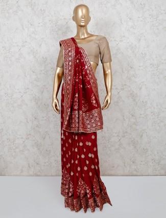 Wine maroon dola silk gota weaving saree