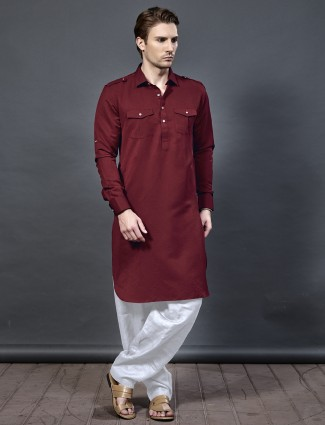 Wine maroon hue pathani suit