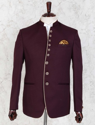 Wine maroon hued wedding wear jodhpuri blazer