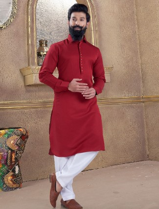 Wine maroon pathani suit in cotton silk