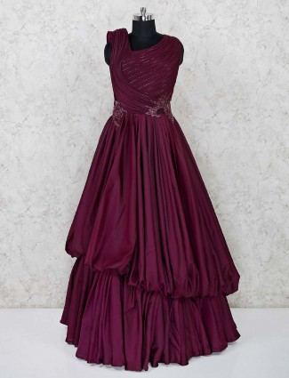 Wine maroon satin layer style gown
