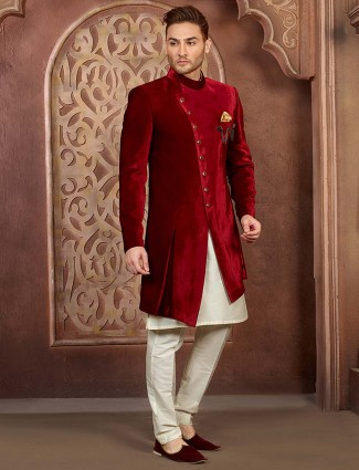 Wine maroon solid wedding function indo western