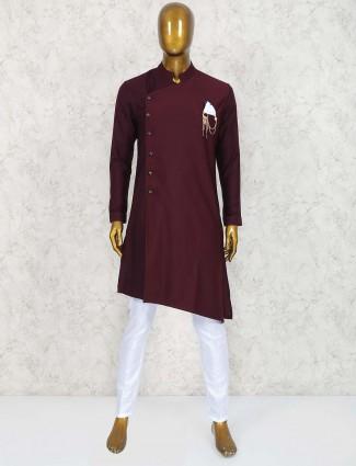 Wine maroon wedding wear kurta suit for men