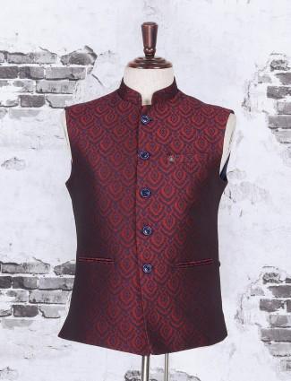 Wine purple color cotton jue waistcoat