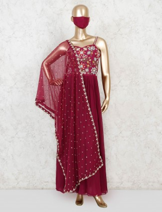 Wine purple georgette anarkali suit