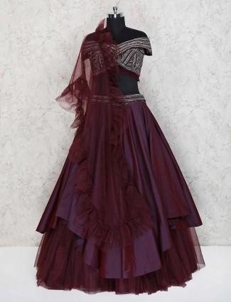 Wine purple satin designer lehenga choli