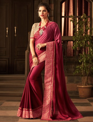 Wine purple silk fabric saree