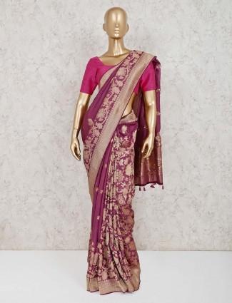 Wine purple tassel work muga silk saree