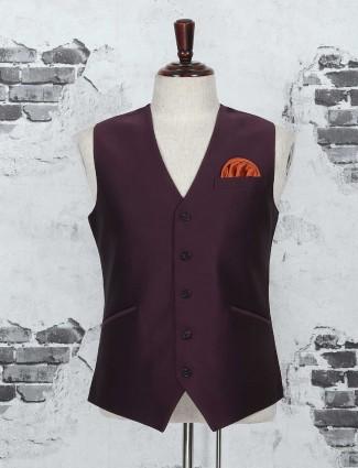 Wine purple waistcoat for wedding