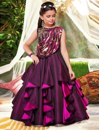 Wine purple wedding wear designer gown