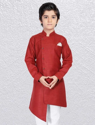 Wine wedding short kurta for boys