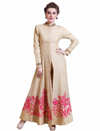 Wonderful beige party wear silk ready made salwar suit