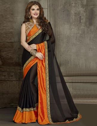 Wonderful black chiffon saree