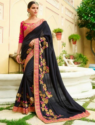 Wonderful black color semi silk saree