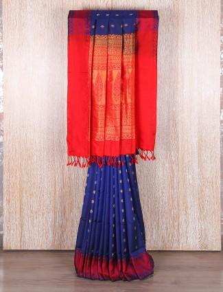 Wonderful blue bangalore silk saree