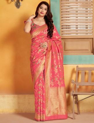 Wonderful bright pink saree in semi banarasi silk